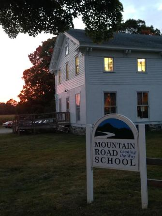 school at sunset